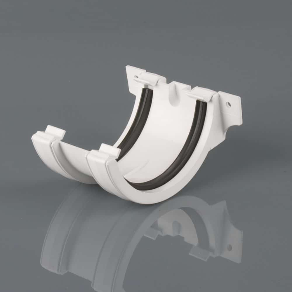 Roundstyle 112mm Gutter Joining Bracket Artic White