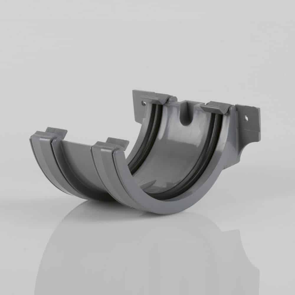 Roundstyle 112mm Gutter Joining Bracket Light Grey