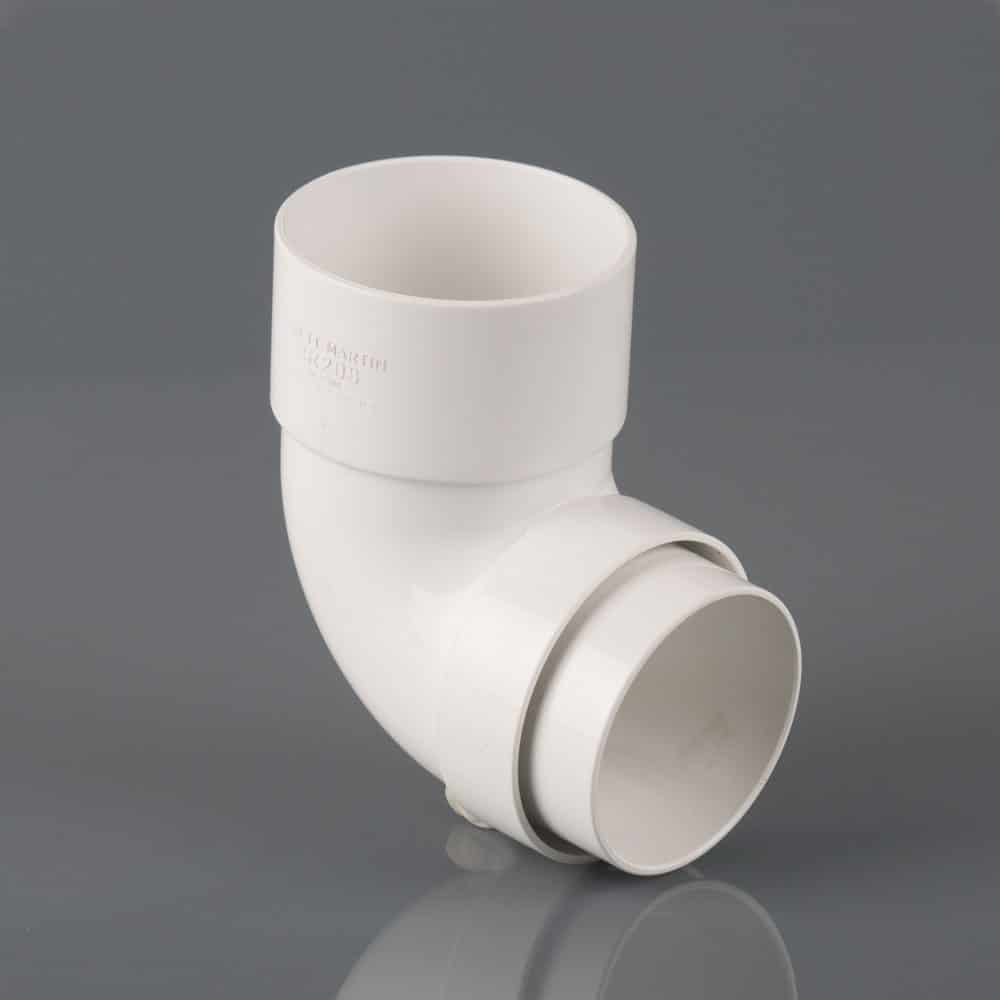 68mm Round Downpipe 90' Bend White