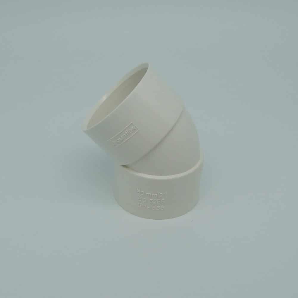 50mm Solvent Weld 135' Obtuse Bend White