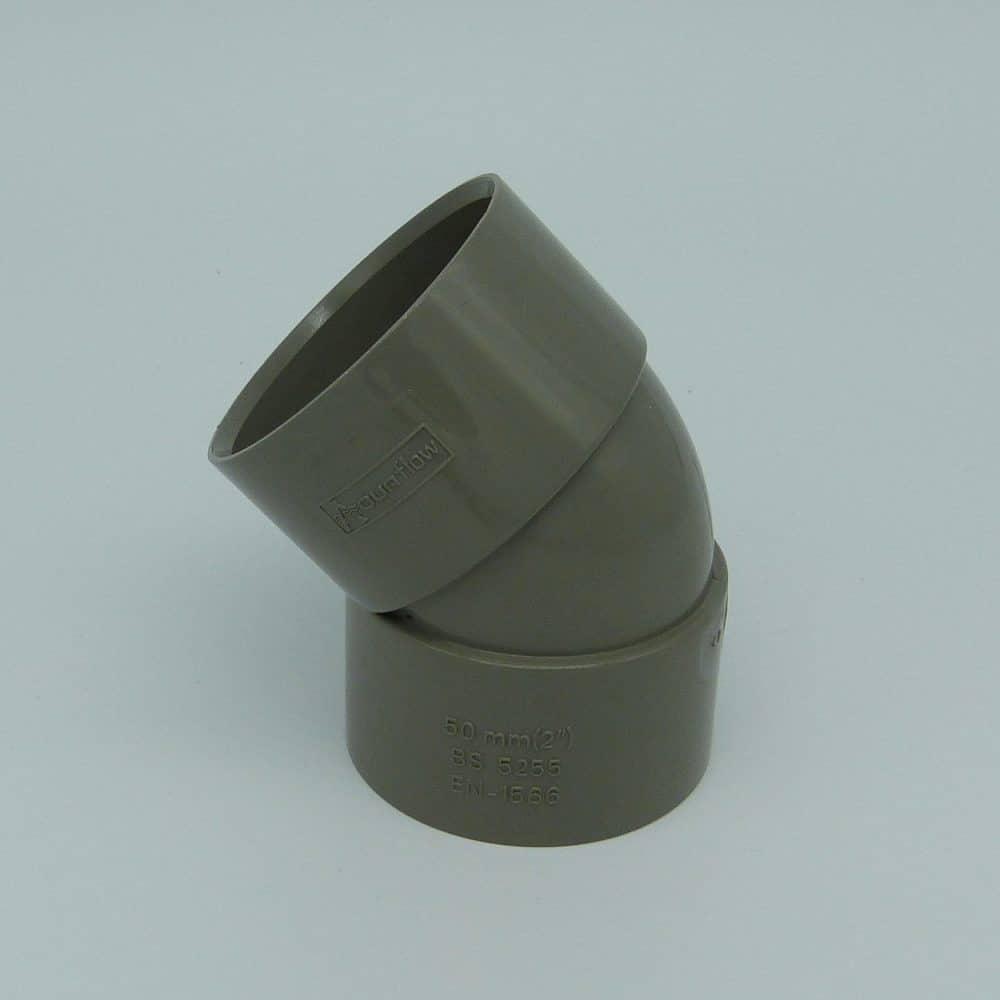 50mm Solvent Weld 135' Obtuse Bend Grey
