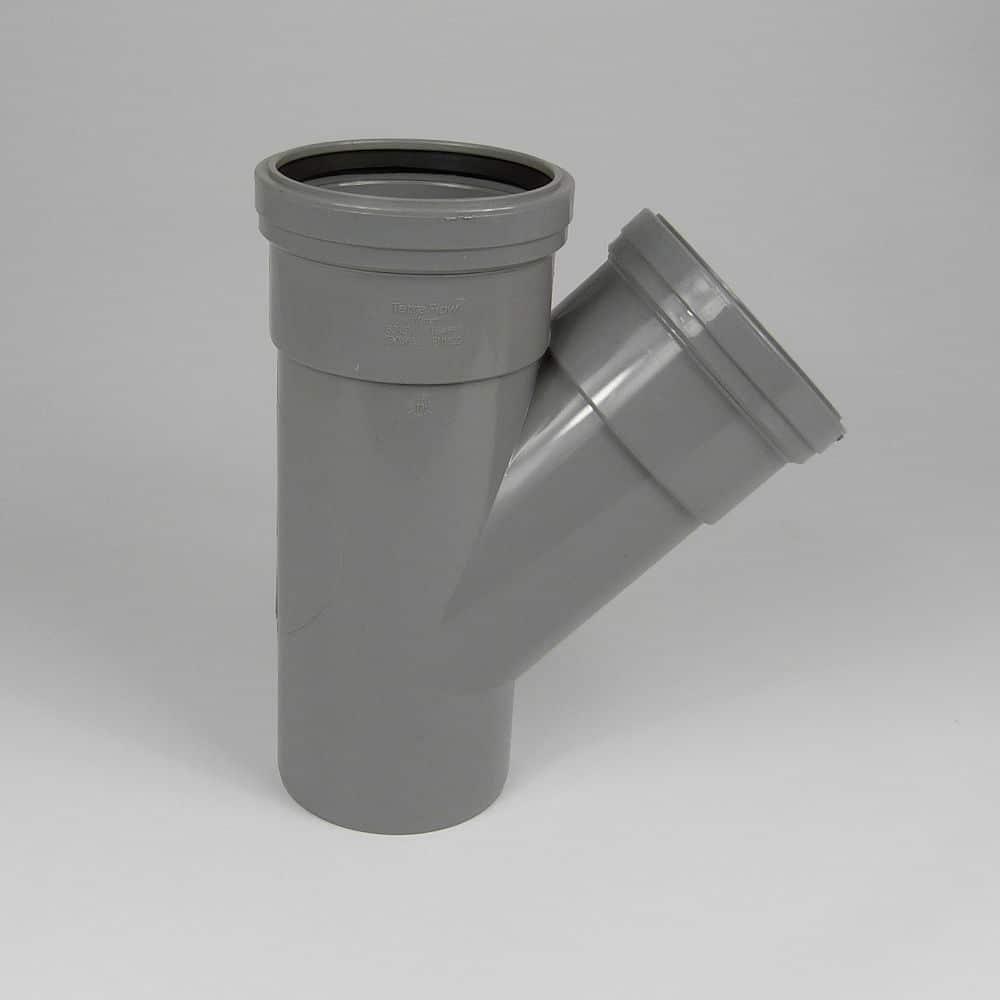 110mm PushFit Soil 45' D/S Branch Grey