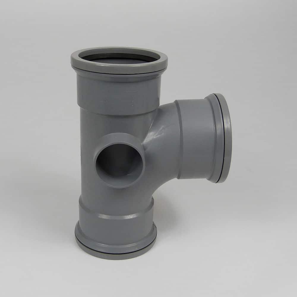 110mm PushFit Soil 90' T/S Boss Branch Grey