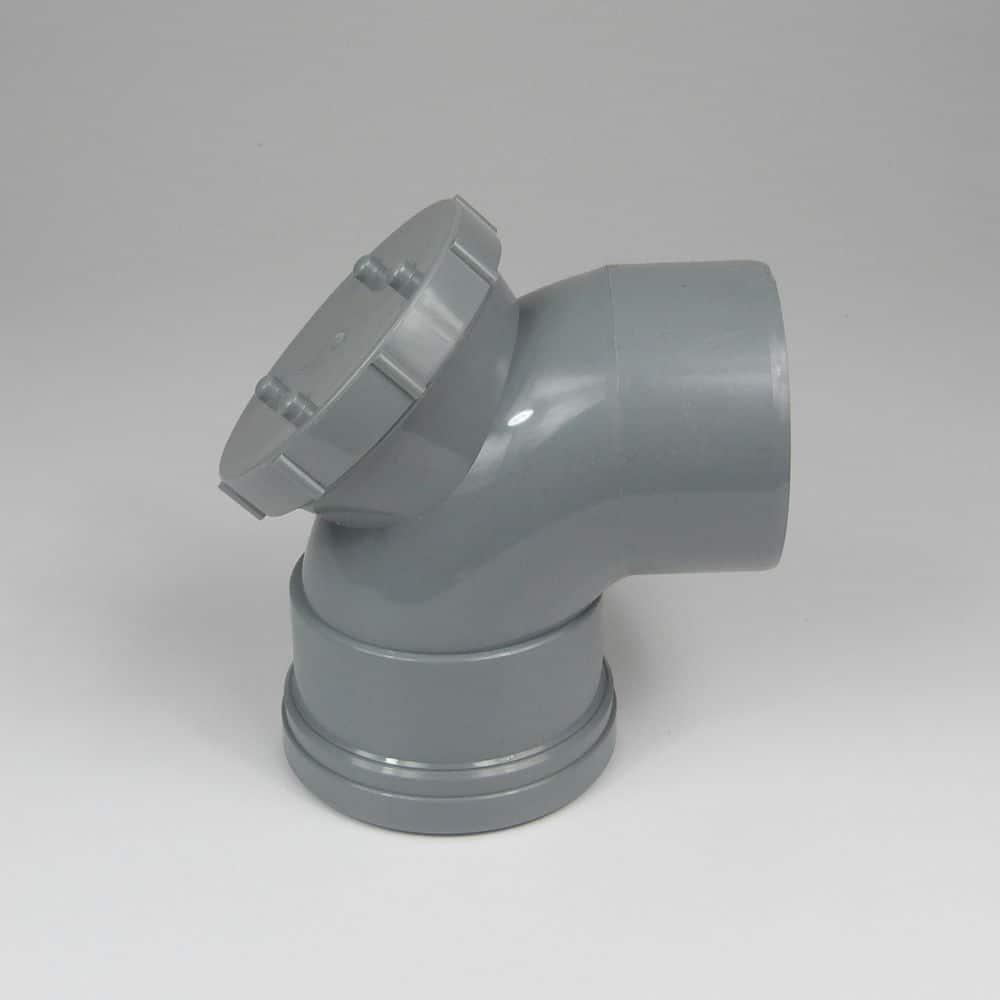 110mm PushFit Soil 90 degree Single Socket Access Bend Grey