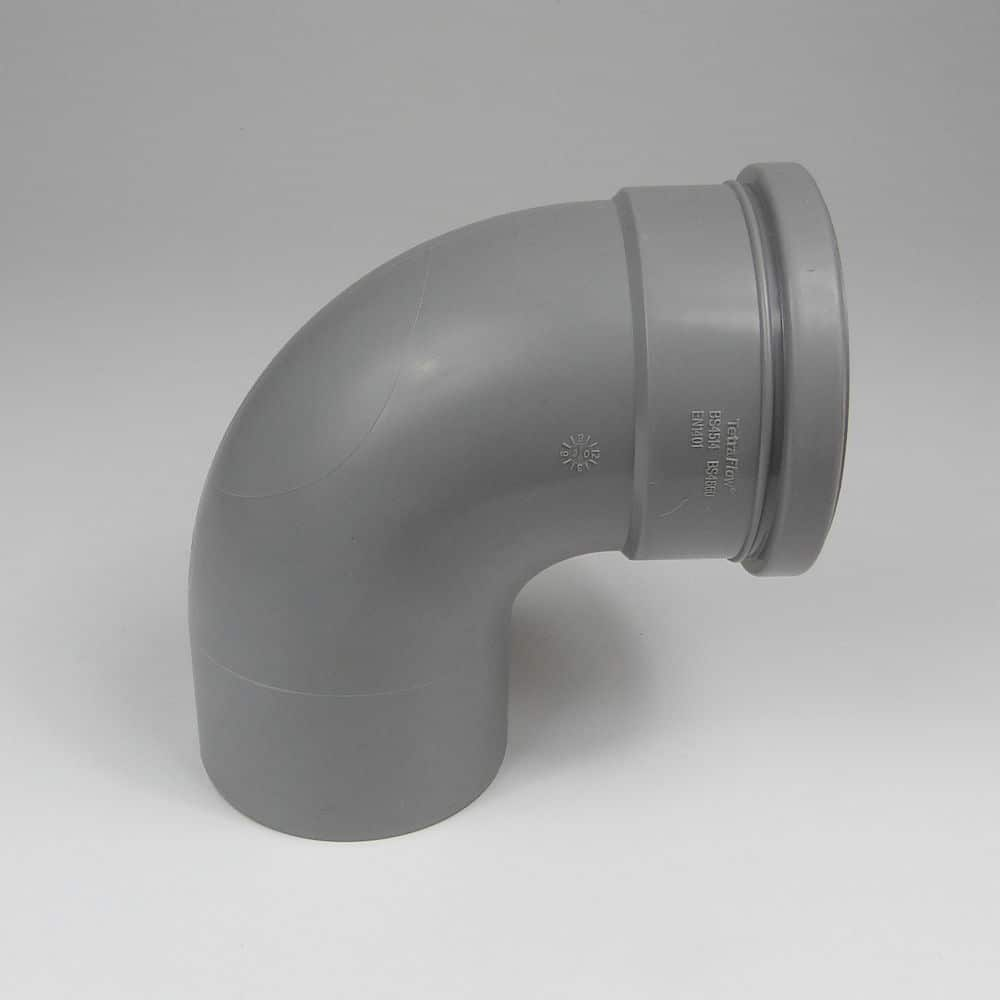 110mm PushFit Soil 90 degree Single Socket Bend Grey