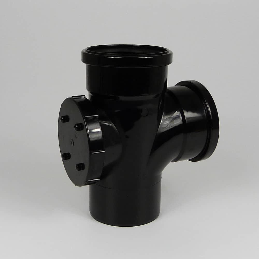 110mm PushFit Soil 90' D/S Access Branch Black