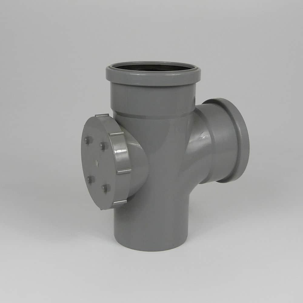 110mm PushFit Soil 90' D/S Access Branch Grey