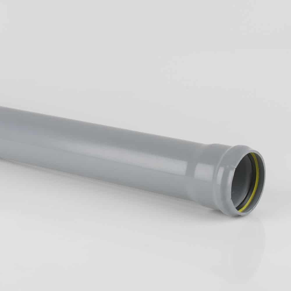 110mm PushFit Soil 3M Socket Pipe Grey
