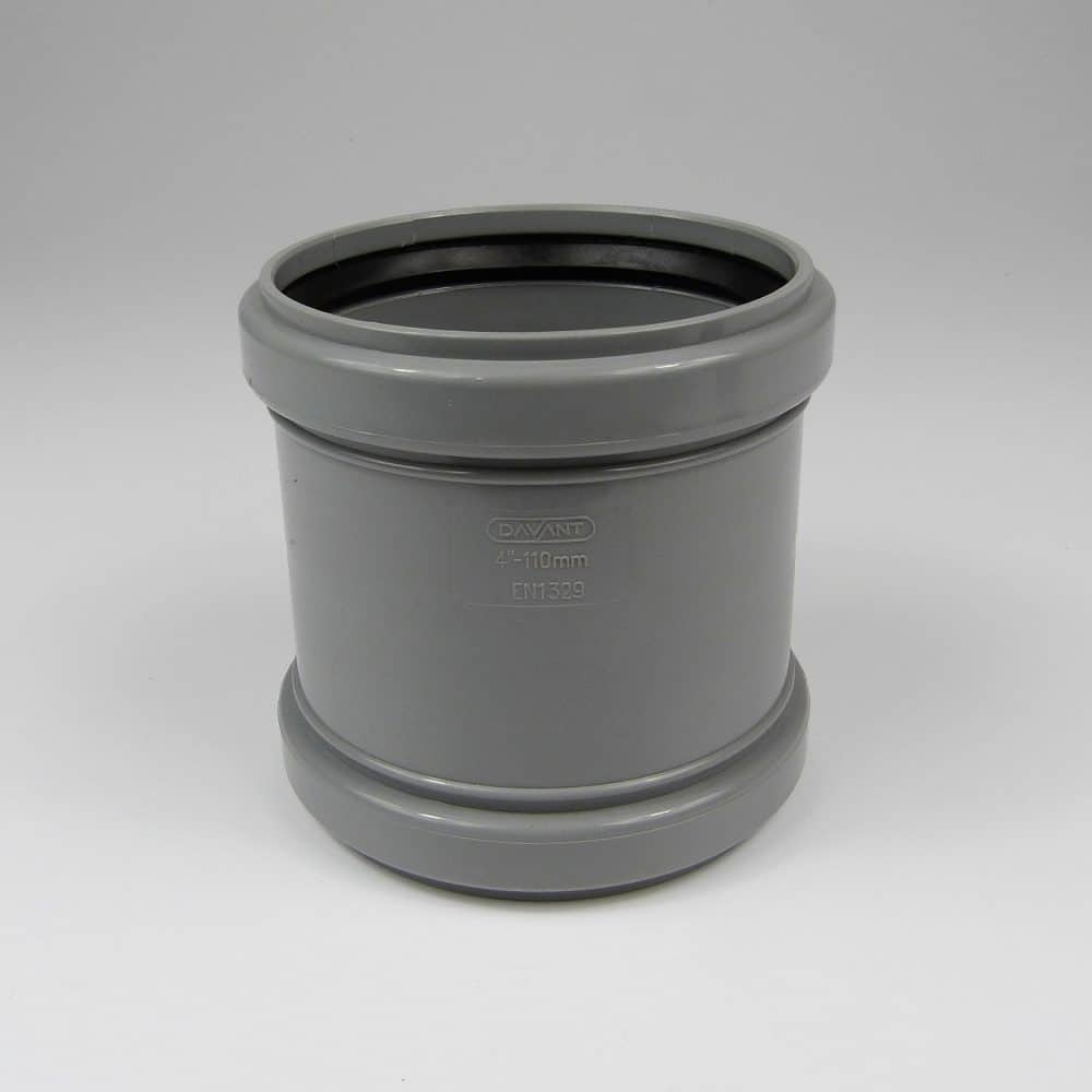 110mm Pushfit Soil Double Socket Coupler Grey