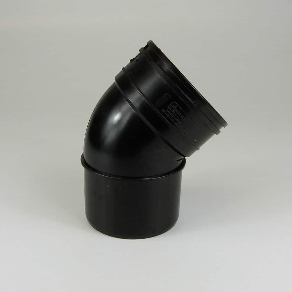 110mm Solvent Soil 45' S/Socket Bend Black