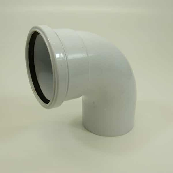 110mm Push Fit Soil 92' degree Single Socket Bend White